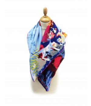 Écharpes Foulard motifs chats 100% soie